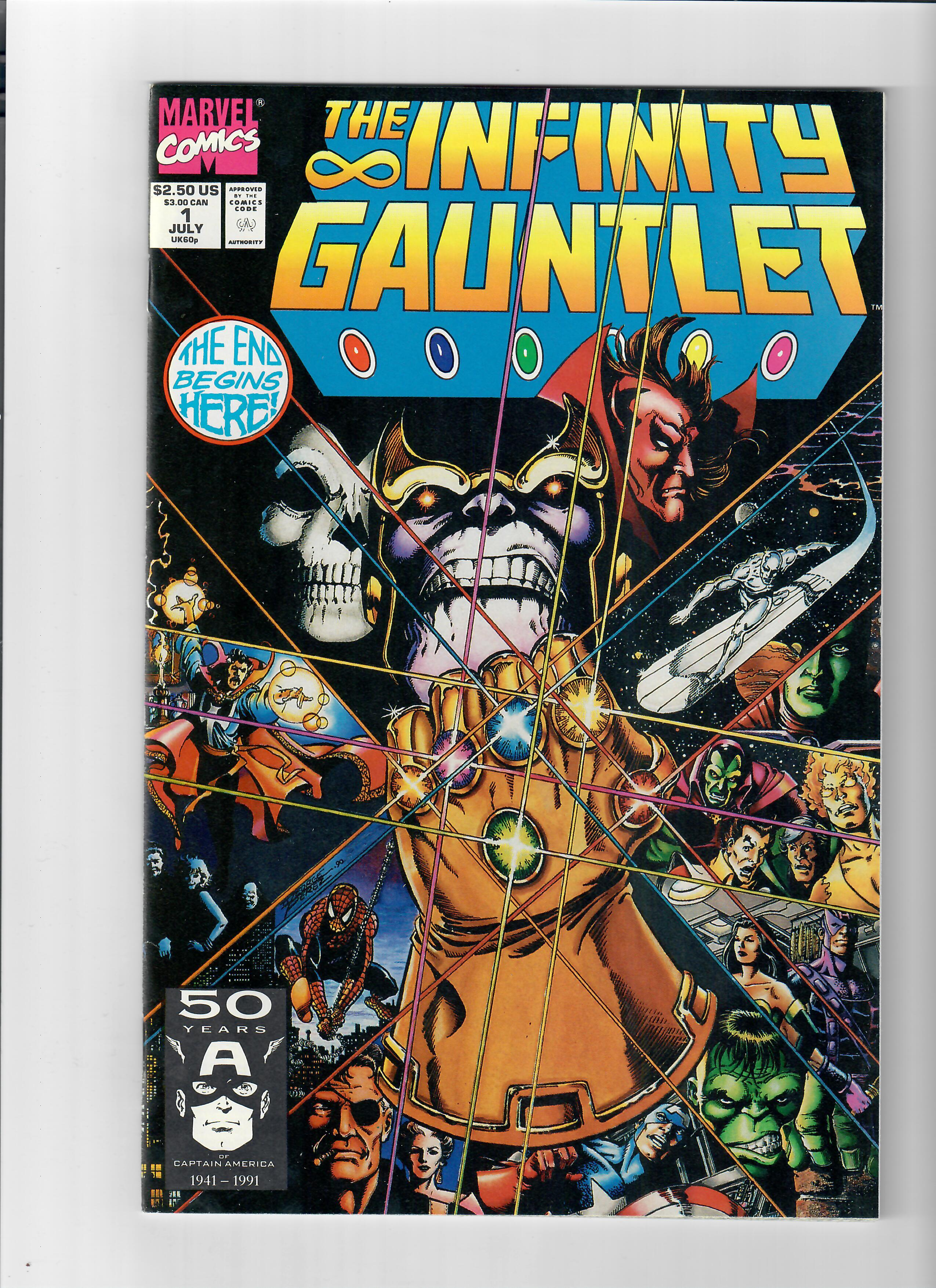 infinity gauntlet v1 1 grade 9 6 copper age find by jim starlin